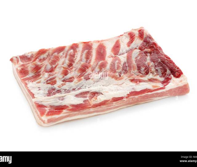 Fresh Raw Bacon Isolated On White Background