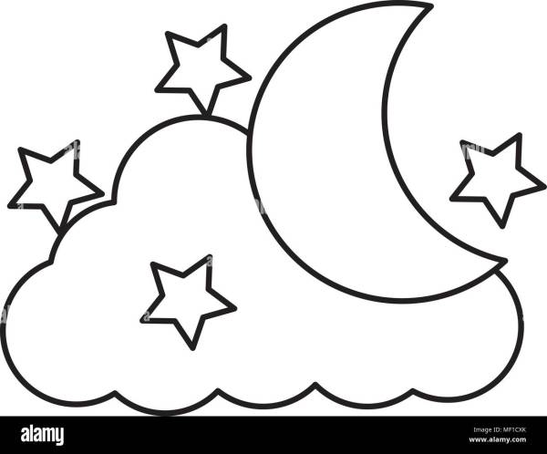 Drawing Moon Stars Stock Photos Drawing Moon Stars Stock