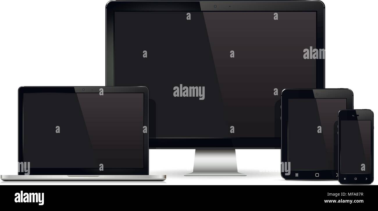 Device Mockup Template Set Of Realistic Computer Monitor Laptop