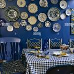 Modern Blue Dining Room Table Chairs Check Pattern Cloth Ceramic Wall Plates Interiors Rooms Cool Colours Display Collections Stock Photo Alamy