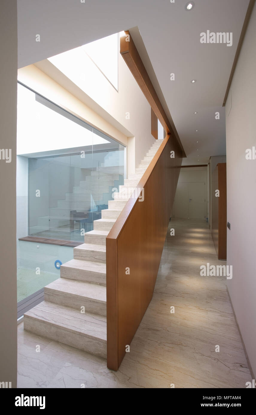 Contemporary Staircase With Marble Steps And Wooden Banister Stock | Glass And Oak Banister | Minecraft | Traditional | Stair Case | House | Designer