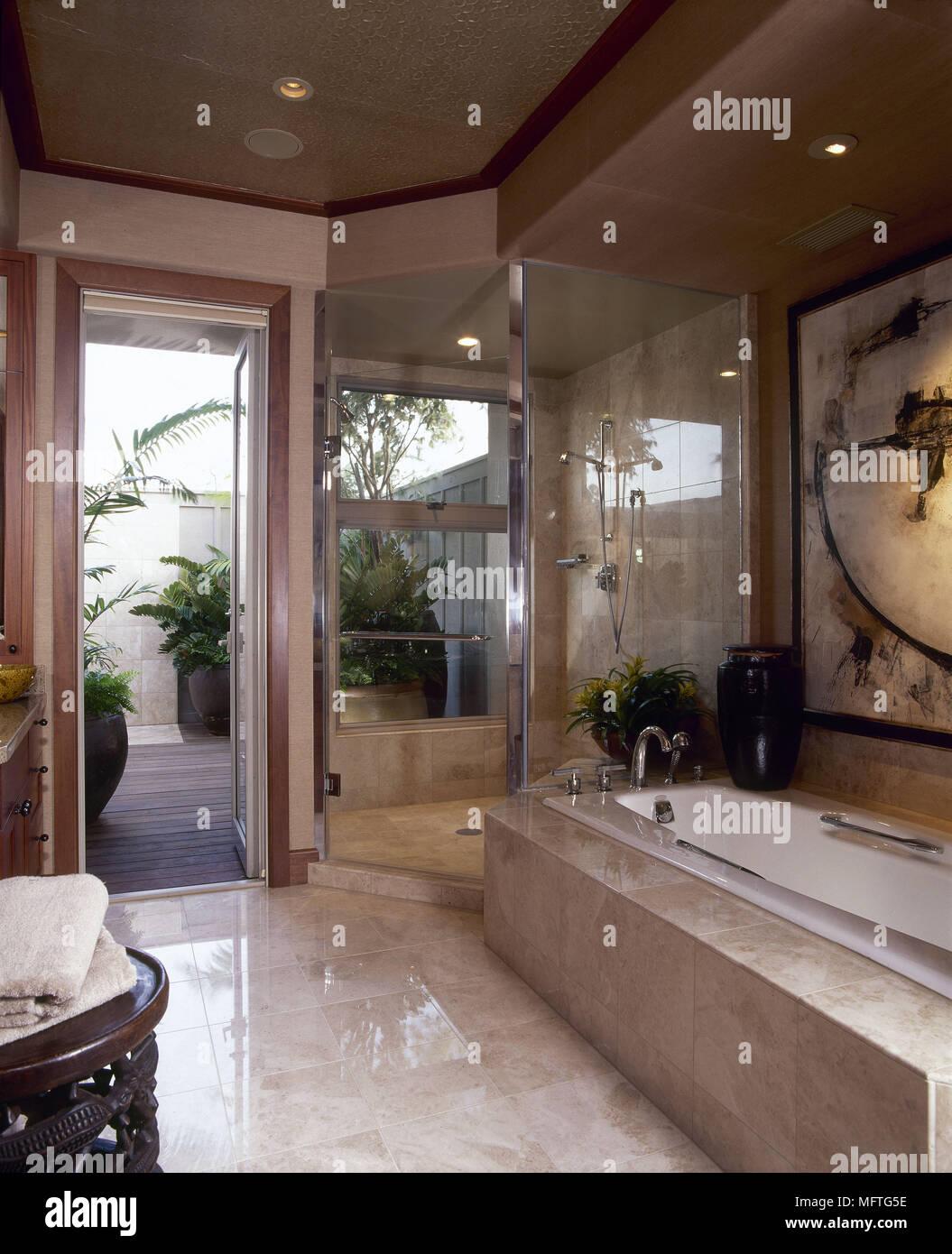 Modern Bathroom Marble Tiled Bath Shower Enclosure Interiors