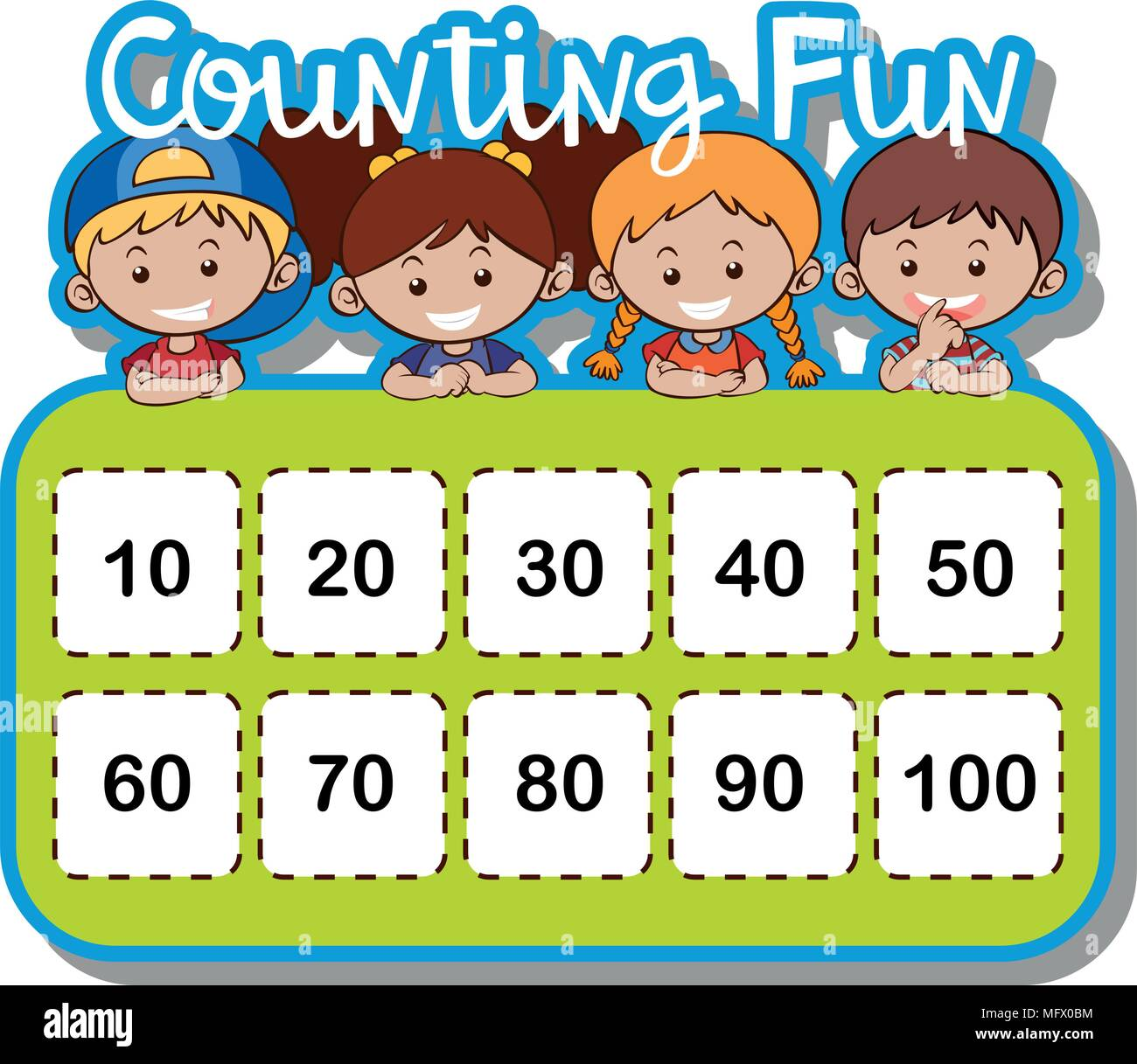 Math Worksheet For Counting Numbers Illustration Stock Vector Art Amp Illustration Vector Image