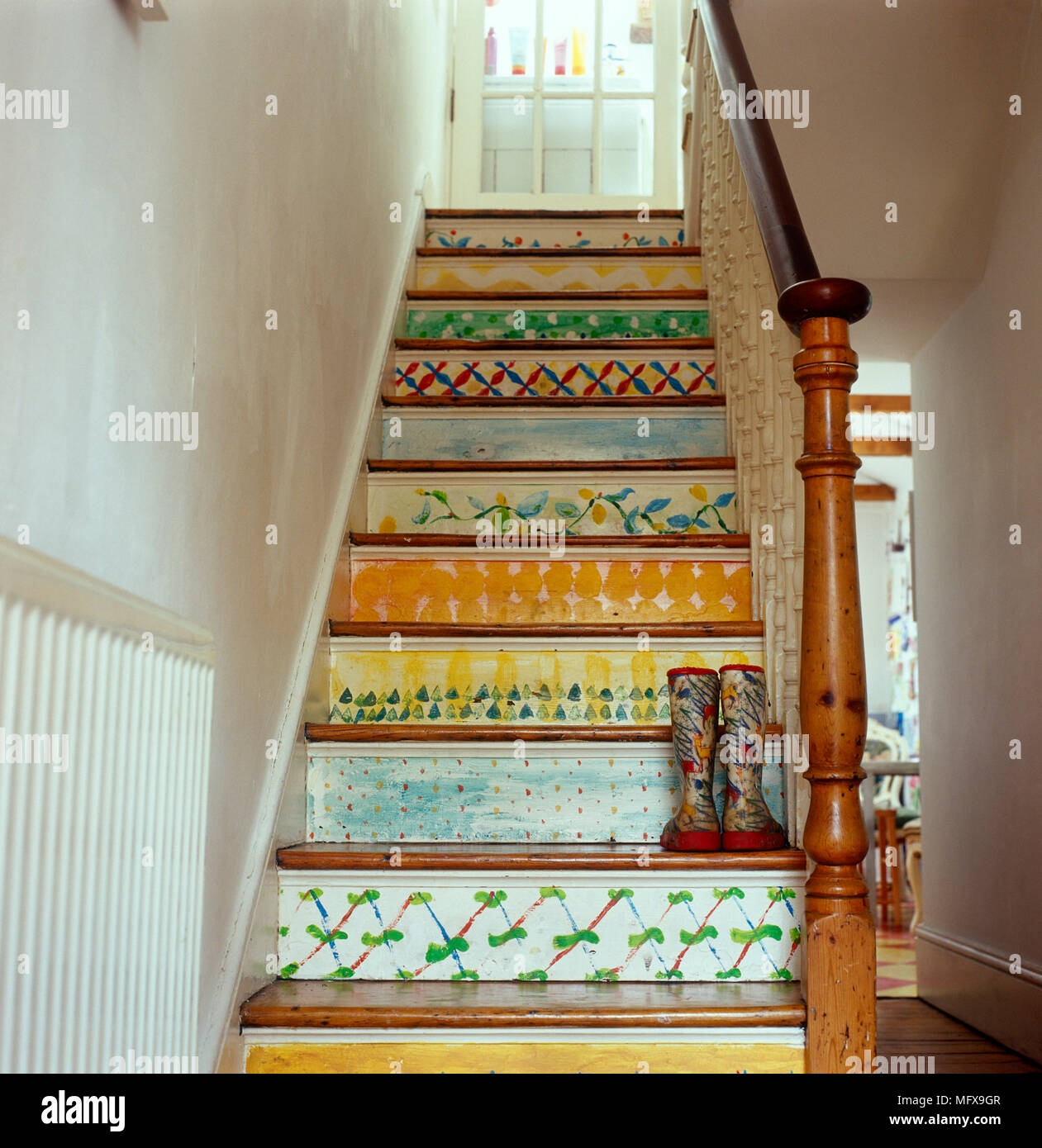 Staircase With Brightly Painted Risers Stock Photo Alamy | Painted Risers On Stairs | Flair | Painting | Stained | Basement | Hardwood