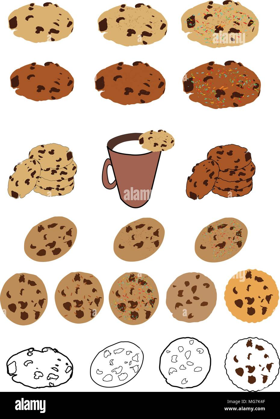 Cookie Chocolate Chip Christmas Svg Svg Cookie Svg Cookie Clipart Cricut Scanncut Cutting Files Cookies For Santa Cookie Vector Stock Vector Image Art Alamy