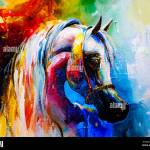 Creative Artwork Acrylic Canvas Paintings Of Horses Stock Photo Alamy