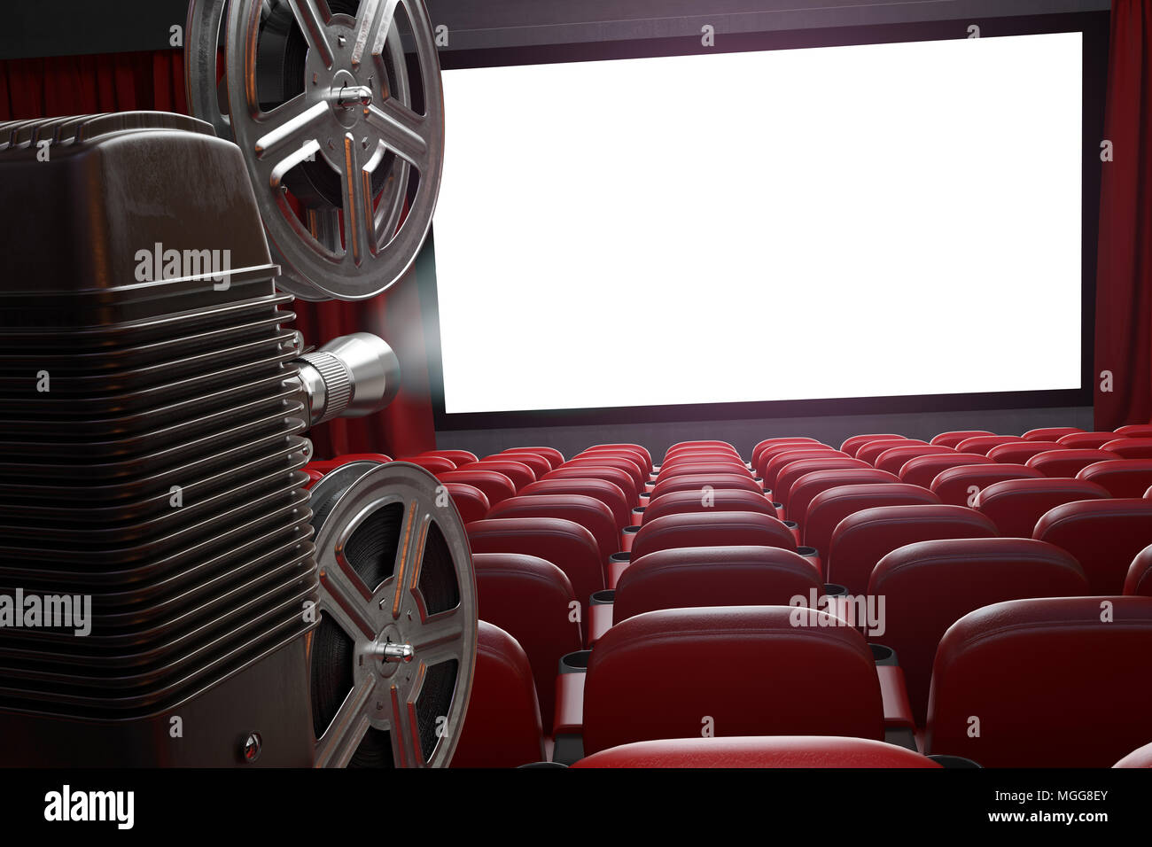 Movie Projector And Blank Cinema Screen With Empty Seats Cinema Movie Or Home Video Concept Background 3d Illustration Stock Photo Alamy