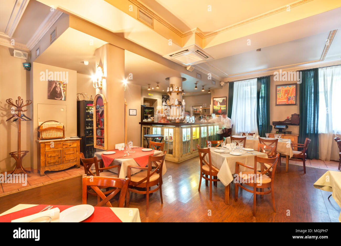 https www alamy com moscow august 2014 the restaurants interior is home to the armenian and caucasian cuisine gayanes hall with a bar and served tables image182351043 html