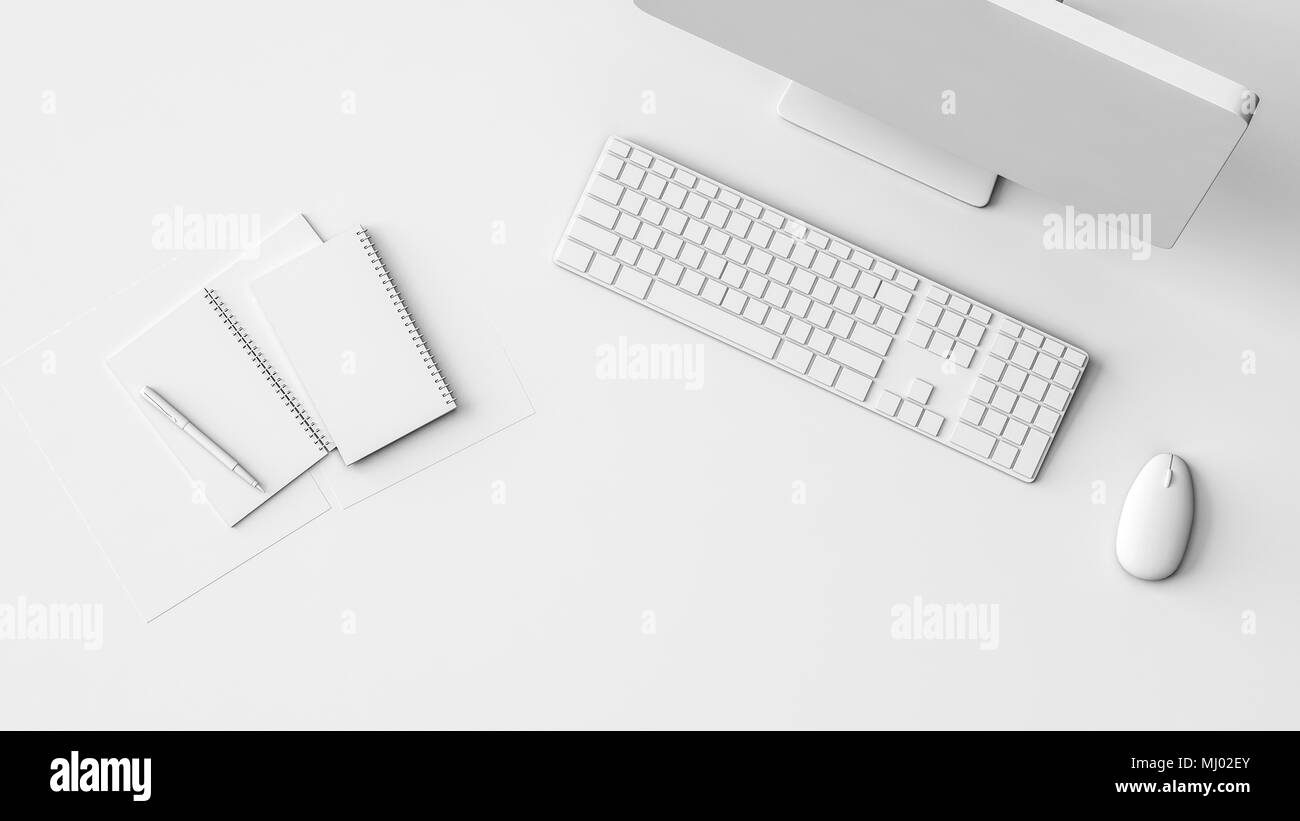 Neat Clean Pure White Workstation Or Mockup With Notebooks Desktop