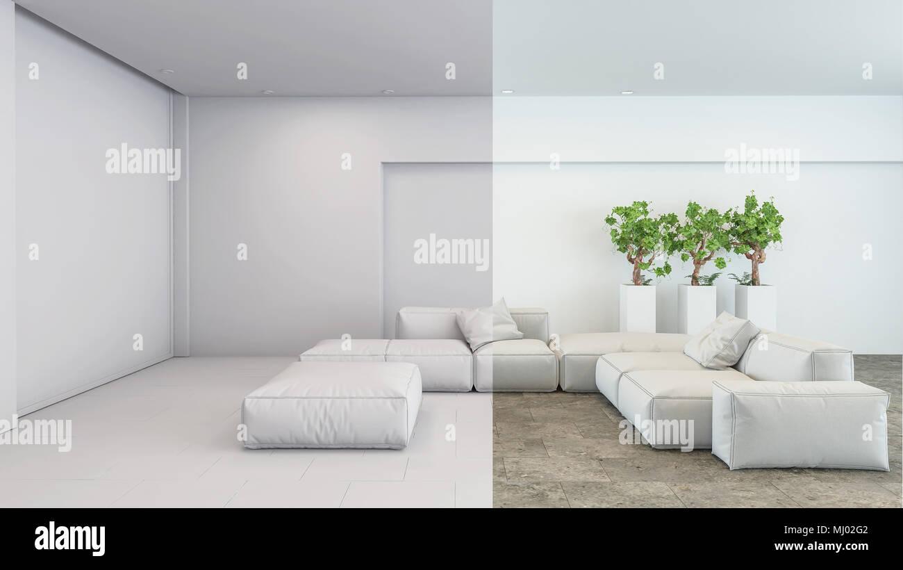 Clean Fresh White Modern Living Room Interior In Neutral