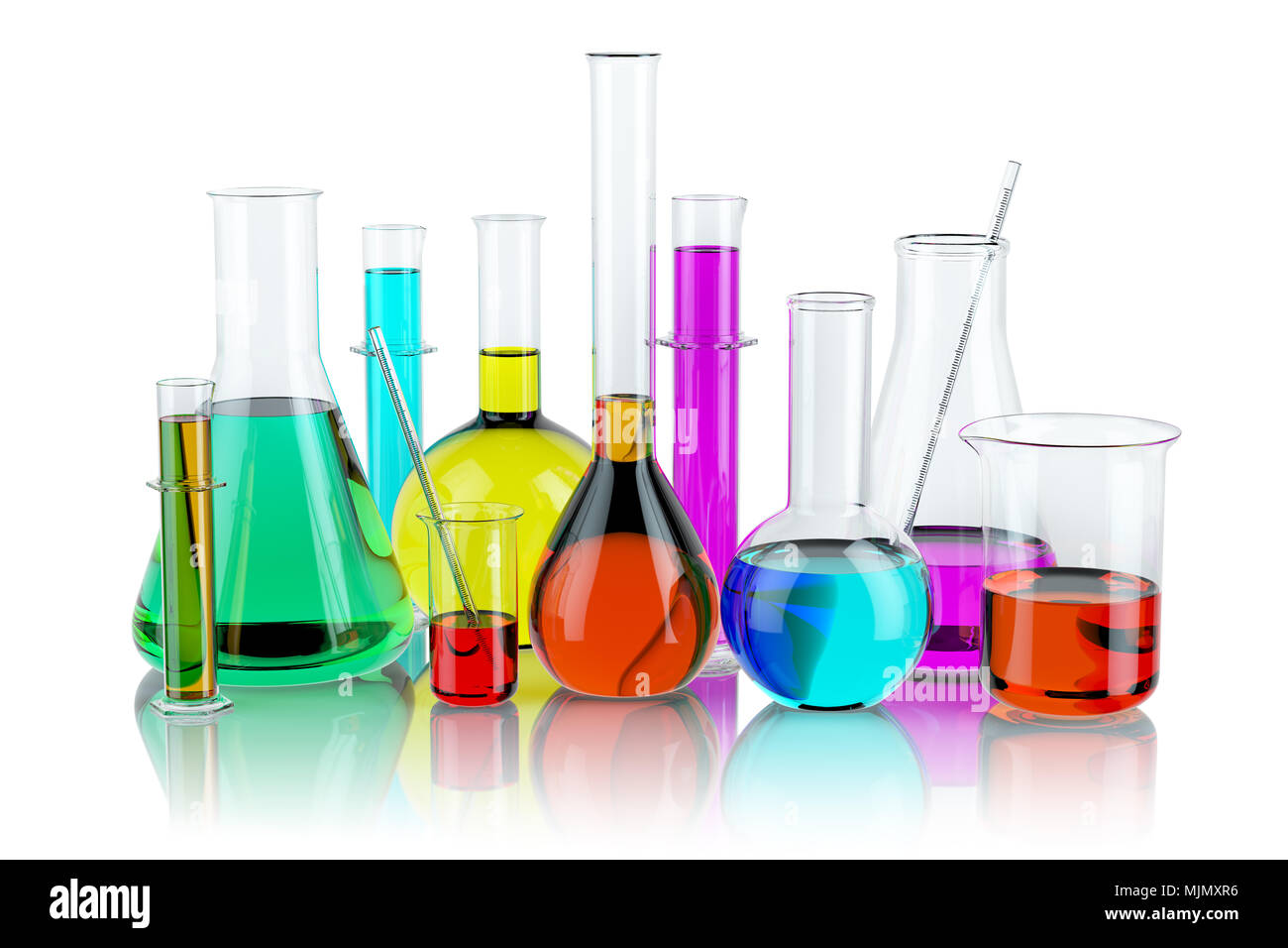 Laboratory Glassware Test Glass Flasks And Tubes With Solution Isolated On White Background