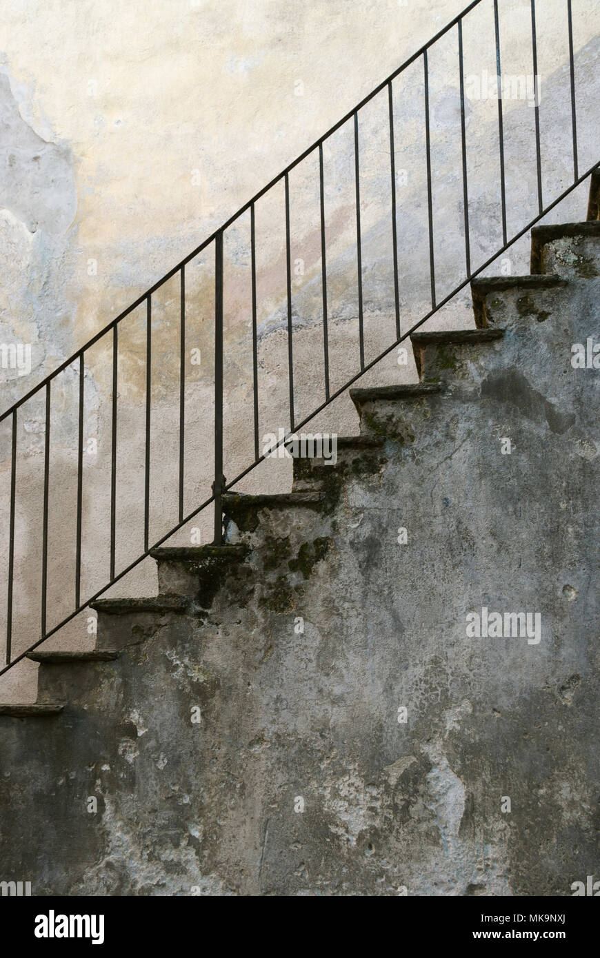 Old Exterior Stone Staircase With Metal Handrail Stock Photo Alamy | Metal Handrails For Stairs Exterior | Outdoor Stair | Simplified Building | Porch | Deck Railing | Handrail Ideas
