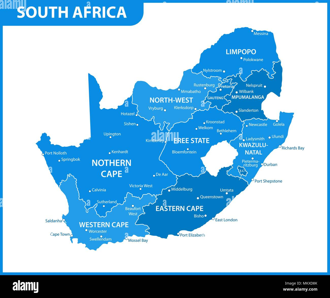 The Detailed Map Of South Africa With Regions Or States