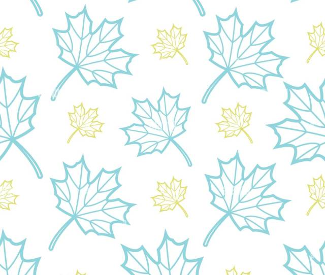 Cute Blue And Gold Outline Maple Leaves Random On White Background Seamless Pattern Background Design For Autumn Or Fall In Vector Illustration