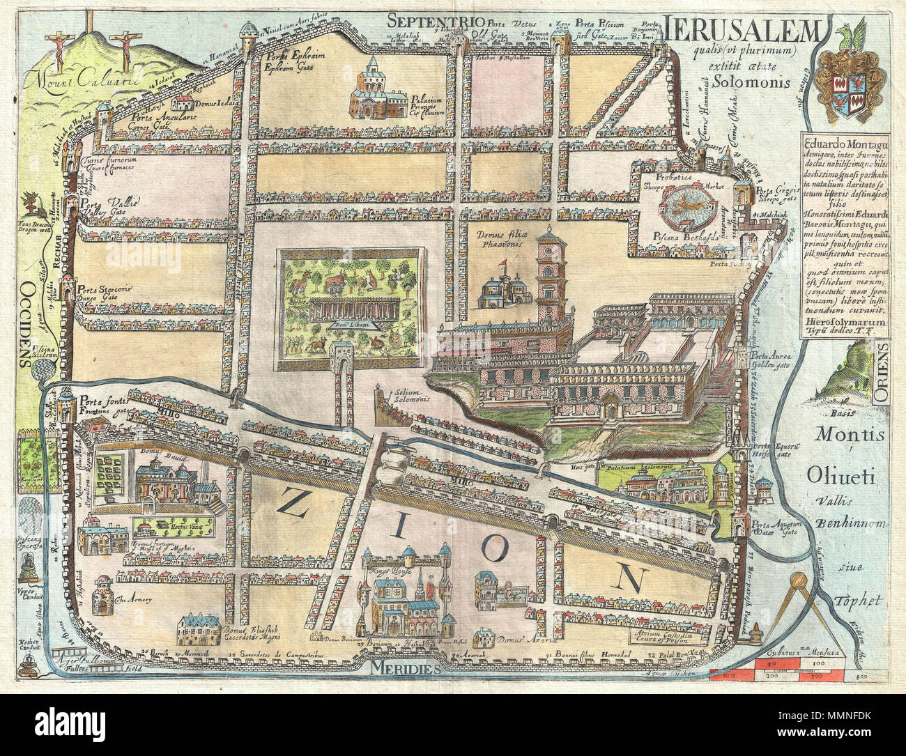 English An Extremely Rare And Altogether Fascinating Map Of Jerusalem By Thomas Fuller