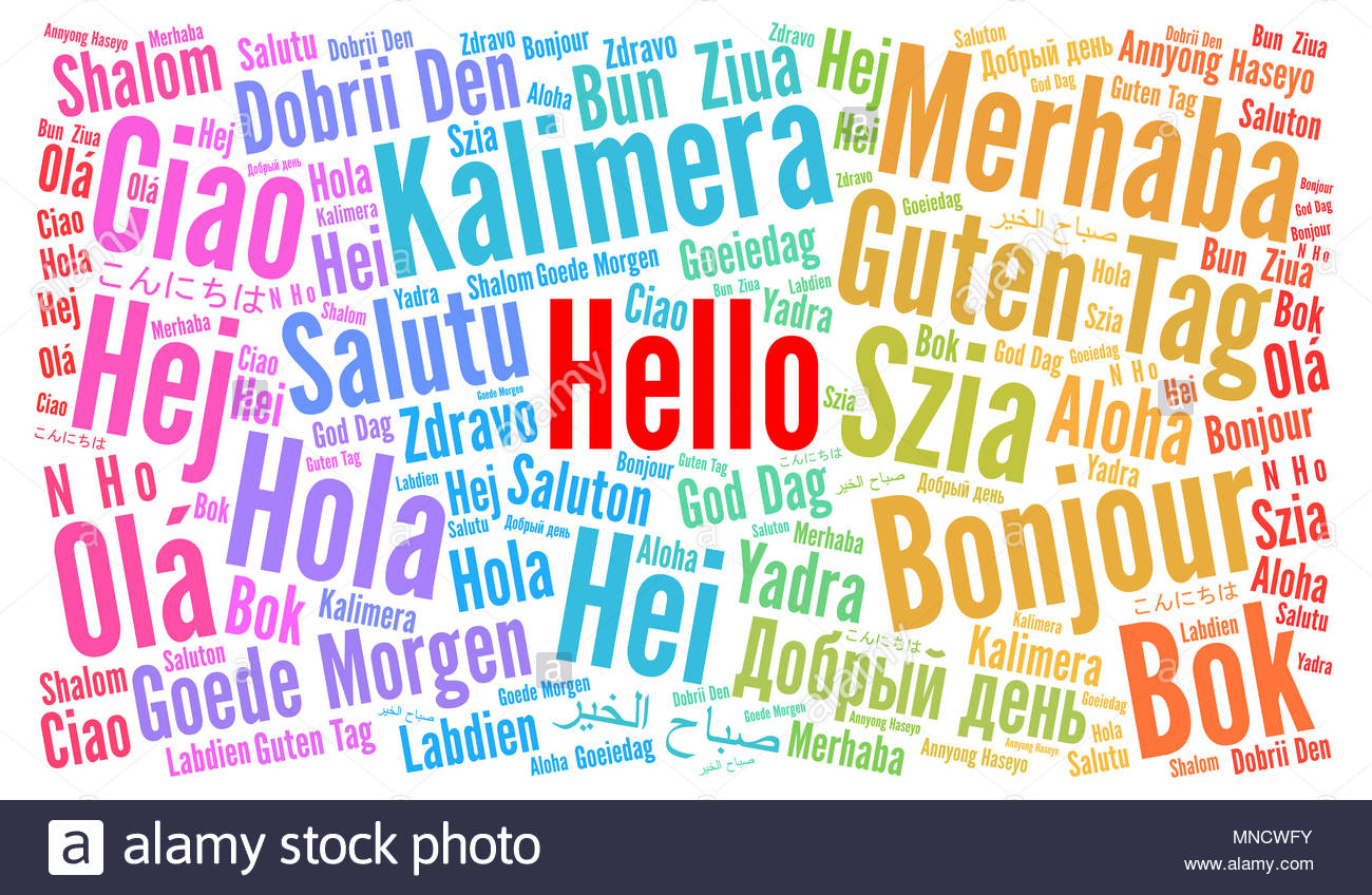 Hello In Different Languages Word Cloud Stock Photo