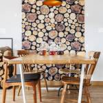 Wooden Dining Table Chairs And Wall Decoration In Modern Bright Dining Room With Natural Design Stock Photo Alamy