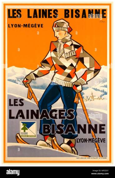 Poster Art Deco Stock Photos   Poster Art Deco Stock Images   Alamy Vintage 1930 s French Alps skiing poster    Les laines Bisanne LYON MEG    VE  Les