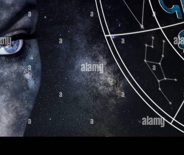 Virgo Horoscope Sign Astrology Women Night Sky Background