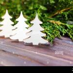 Small Decorative White Wooden Christmas Tree New Year Concept Gift From Kraft Paper Stock Photo Alamy