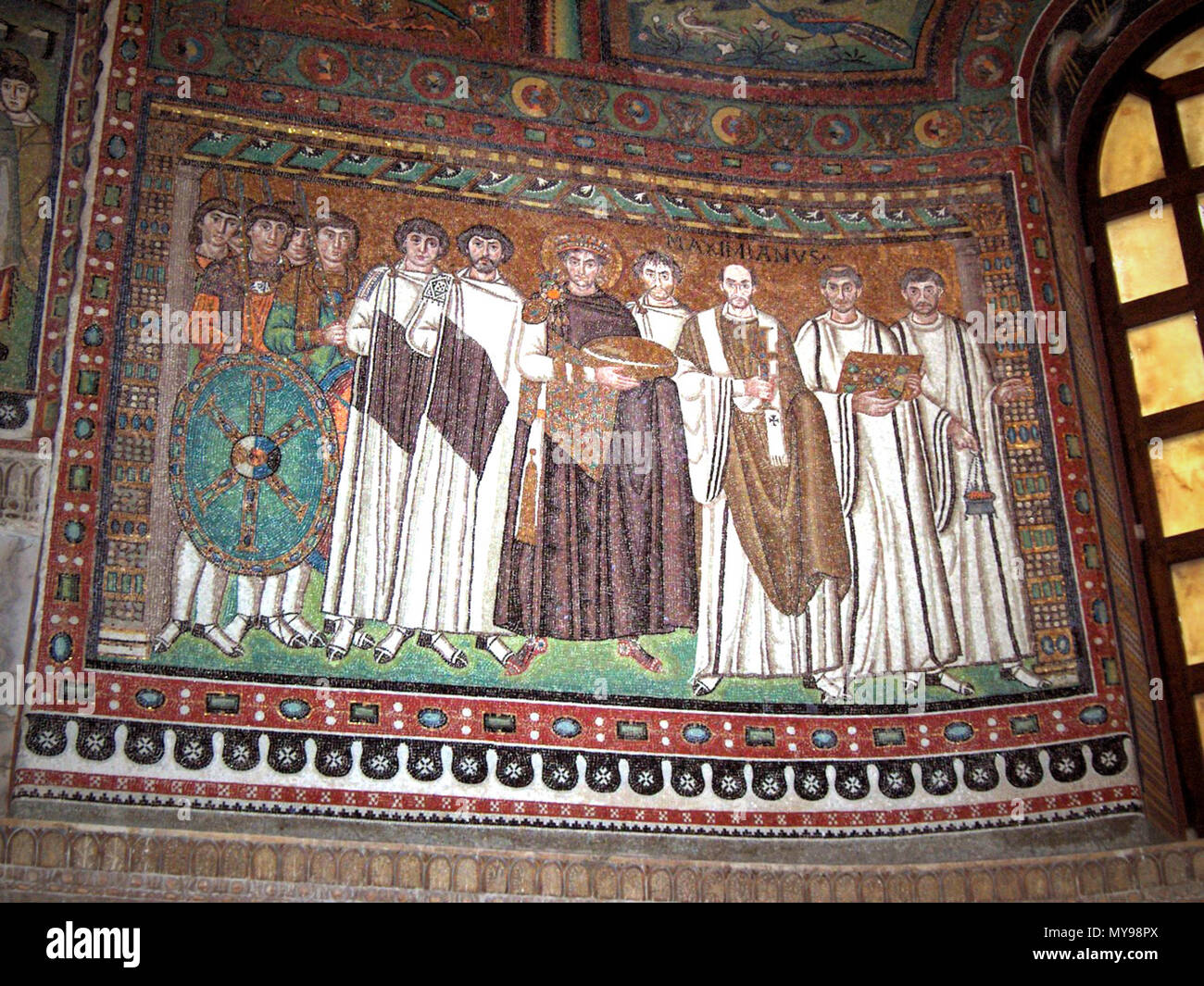 Mosaic Attendants Italy Justinian And His Emperor Ravenna Vitale C San 547 Church