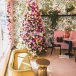 Pink And Gold Christmas Tree In A Cafe Stock Photo Alamy