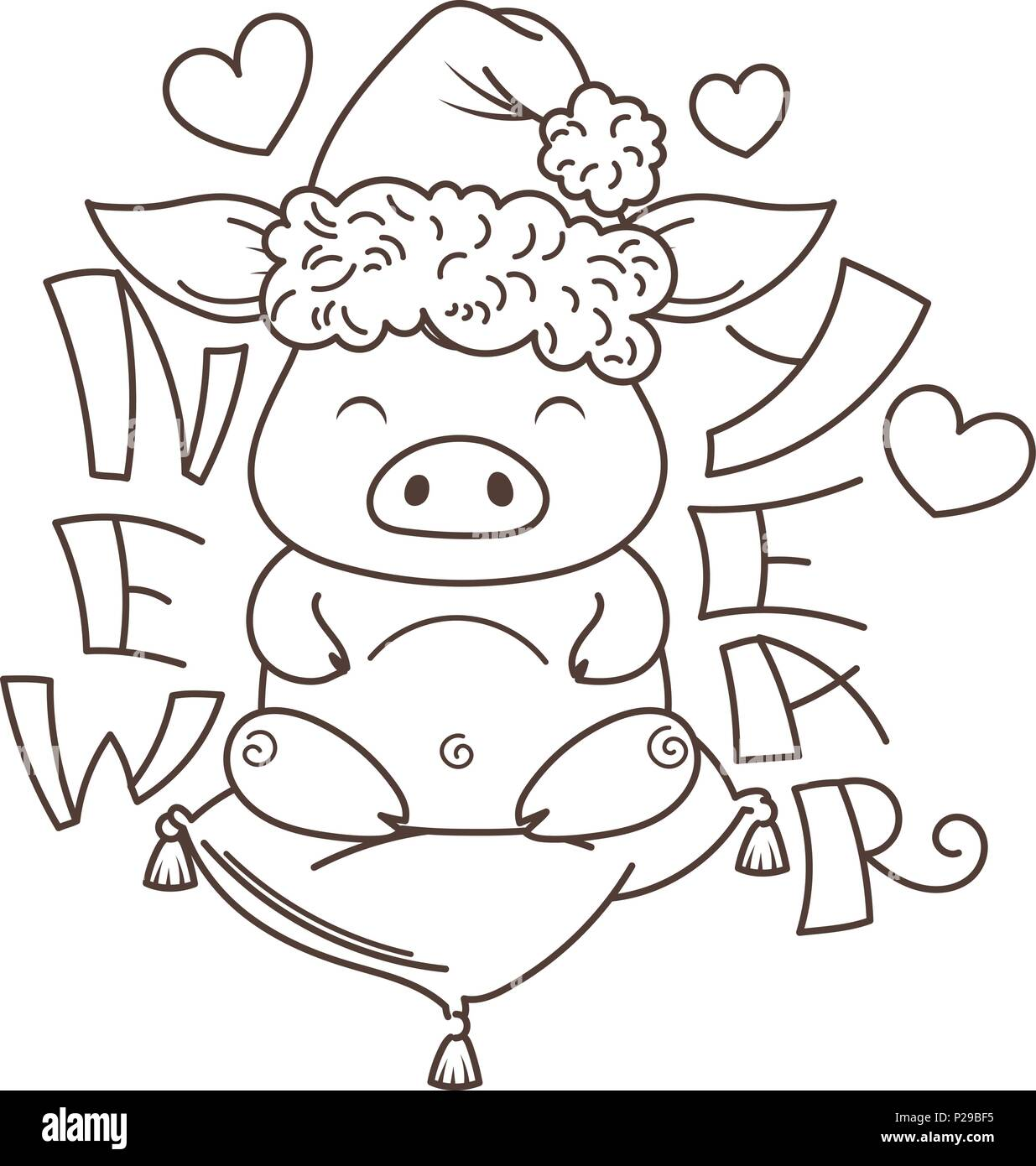 Cute Cartoon Pig In Love With Holiday Tree Symbol Of New