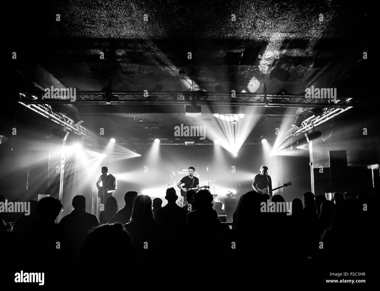 https www alamy com submariner band live at wedgewood rooms as part of icebreaker festival 2018 including the crowd and stage lighting in black and white image208020003 html