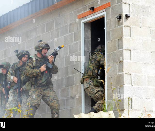 Soldiers From The Armed Forces Of Bosnia And Herzegovina Breach A Door Sept 15 2016 During Training As Part Of Exercise Immediate Response 16 Held At