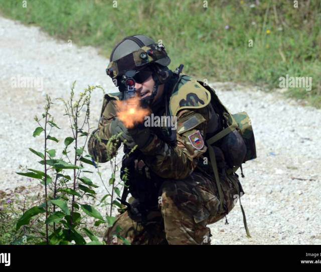 A Soldier From The Slovenian Armys 74th Motorized Battalion Returns Suppressive Fire Sept 15 2016 During Training As Part Of Exercise Immediate