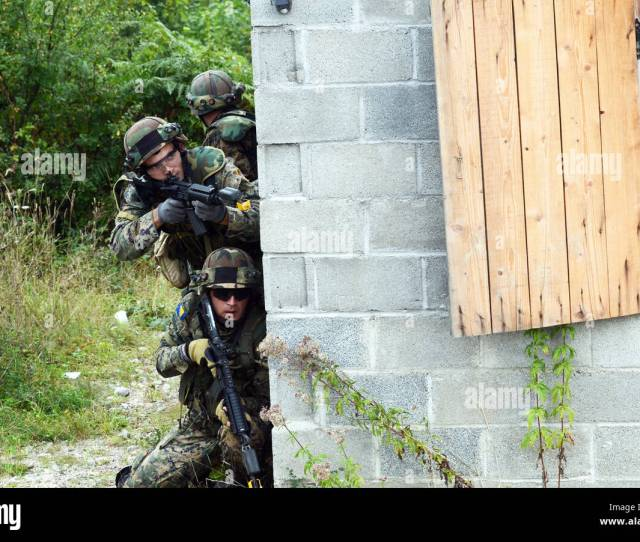 Soldiers From The Armed Forces Of Bosnia And Herzegovina Scan The Perimeter Before Breaching A Building Sept 15 2016 During Training As Part Of