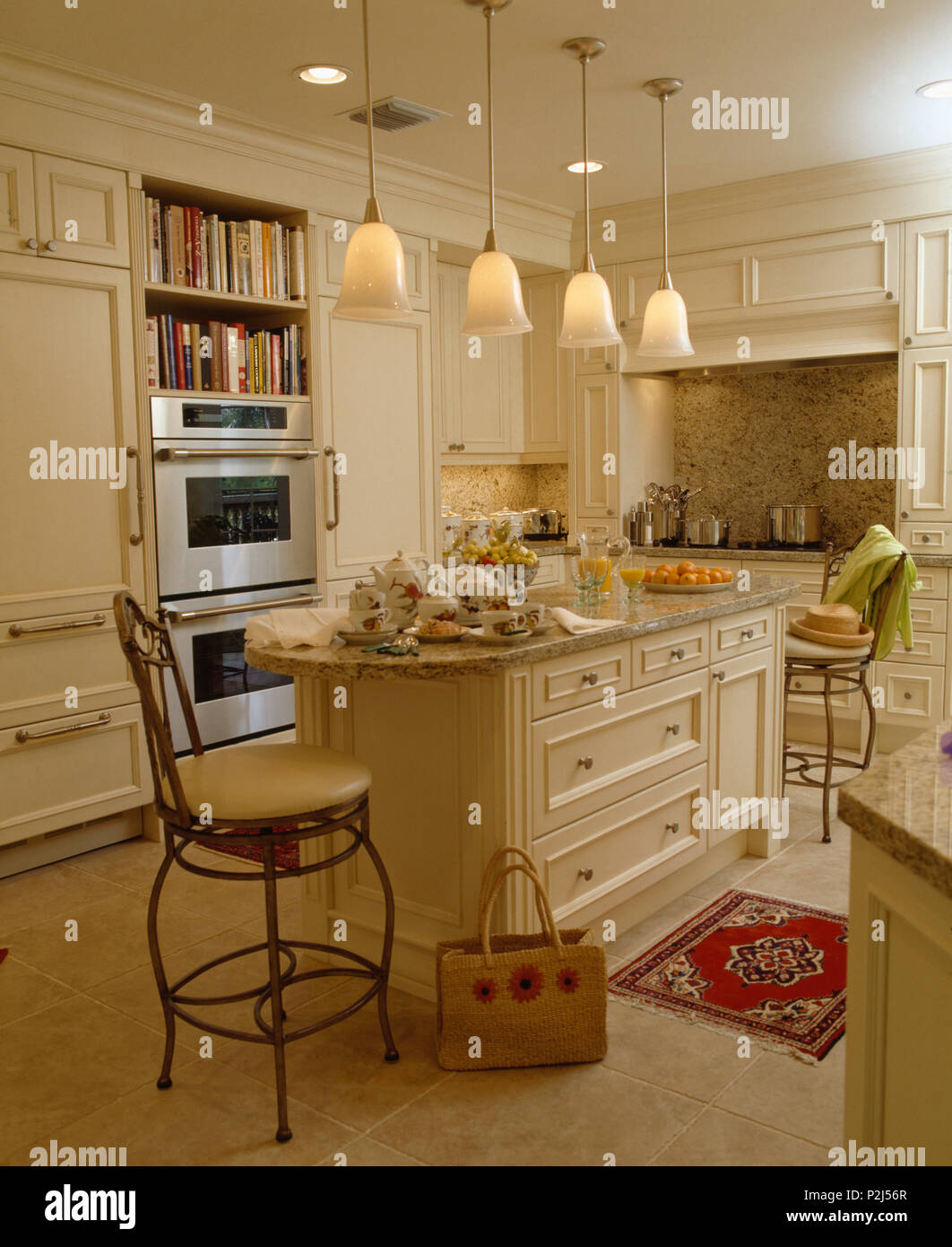 https www alamy com pendant lights above island unit in cream coastal kitchen image208152975 html