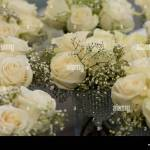 Bouquet Of Flowers Bunch Of Roses With White Waxflower Huckleberry And Pittosporum Stock Photo Alamy