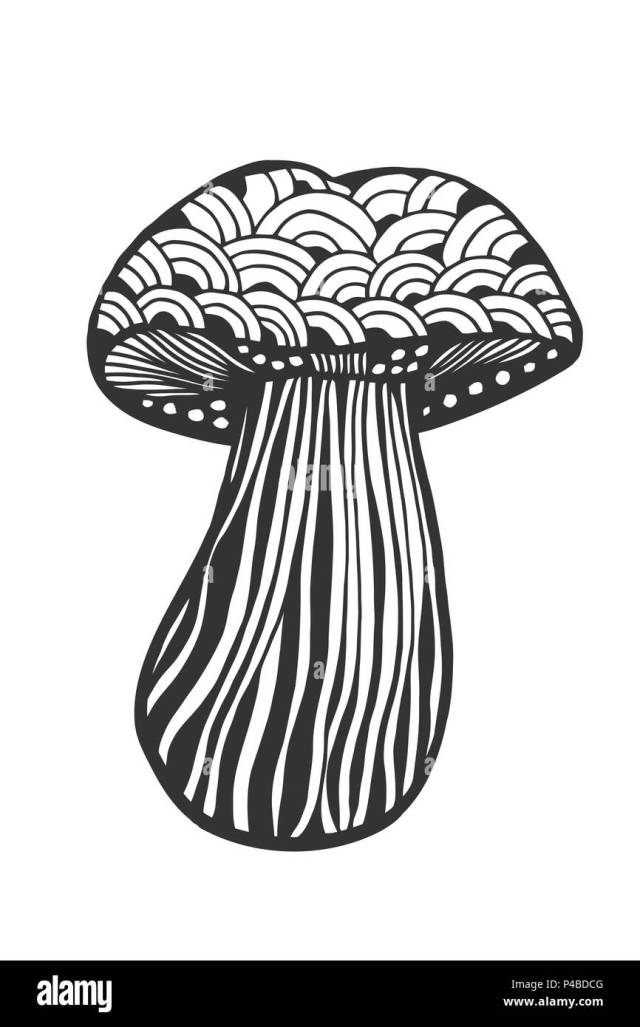 Hand drawn magic mushroom for adult anti stress Coloring Page with