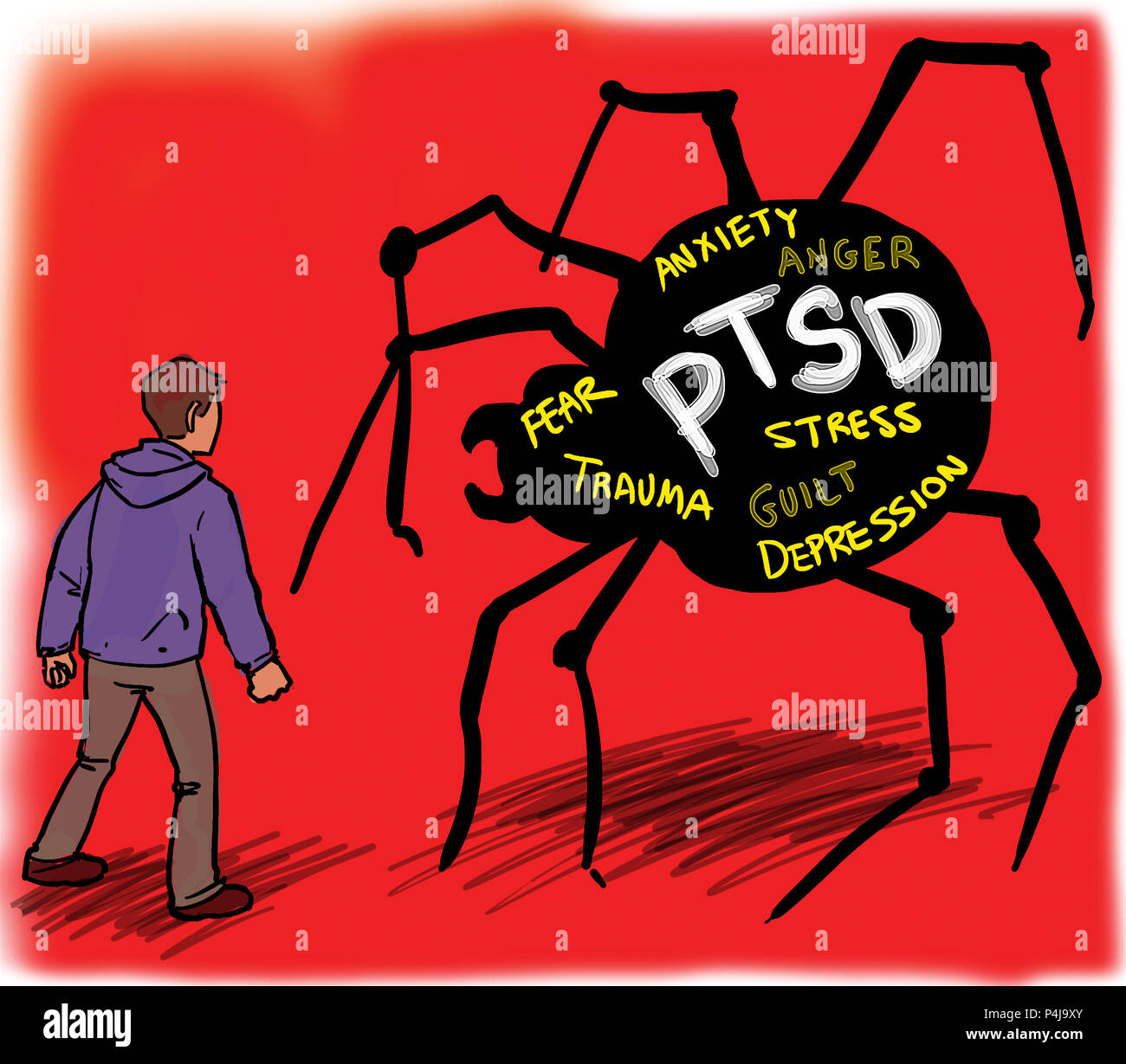 Man Suffering Dealing With Ptsd Post Traumatic Stress