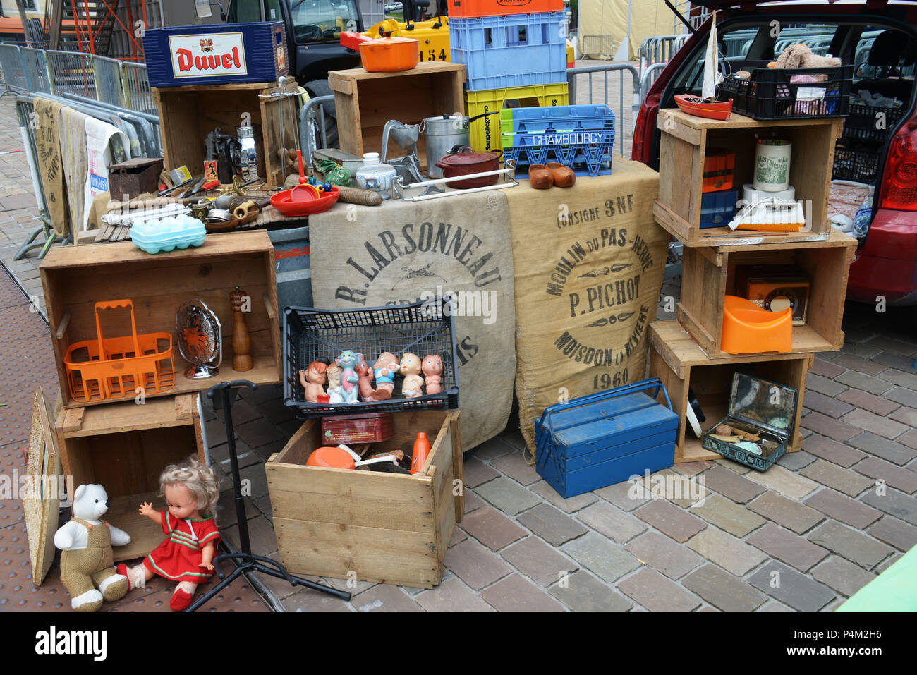 https www alamy com car boot sale france sell an items at the local sunday car boot sale in le mans french market image209424130 html