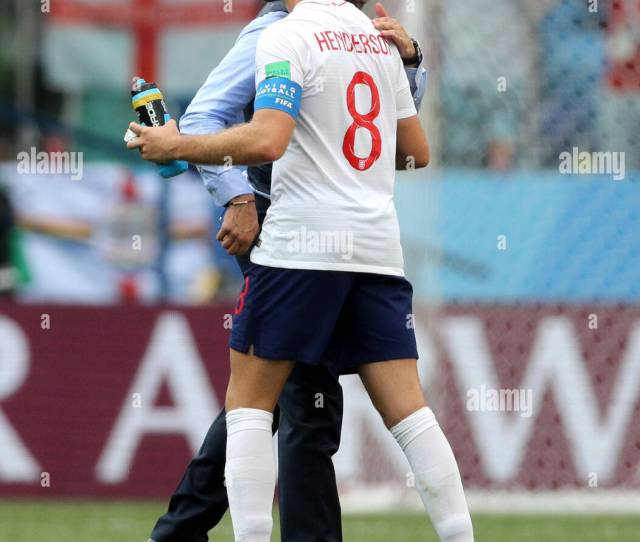 England Manager Gareth Southgate Back And Jordan Henderson After The Fifa World Cup Group G Match At The Nizhny Novgorod Stadium