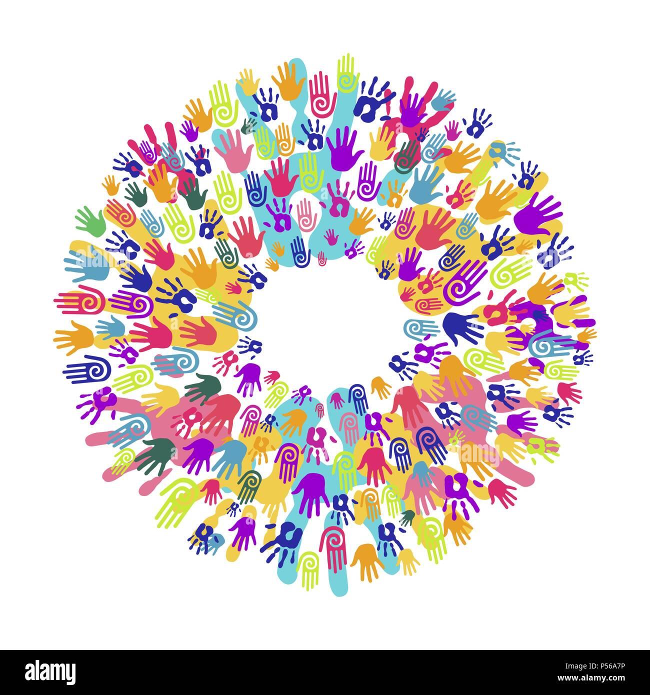 Colorful Human Hand Print Mandala Community Team Concept