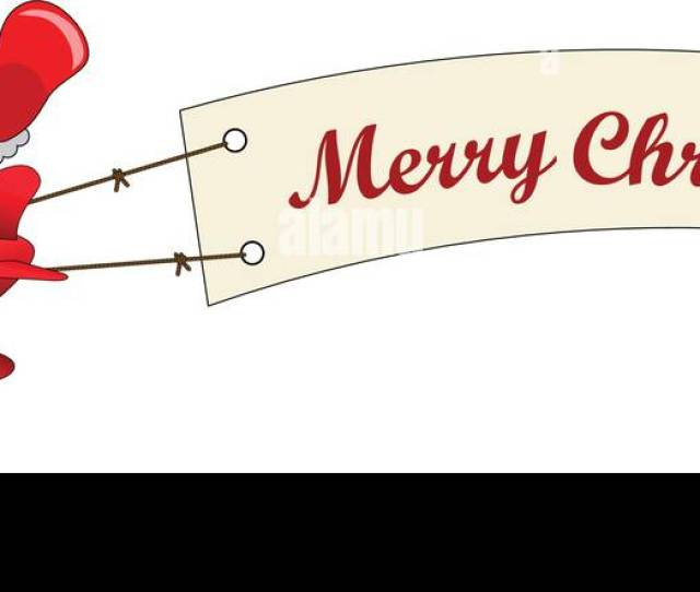 Santa Claus Cartoon Flying On Airplane With Merry Christmas Message Banner Isolated