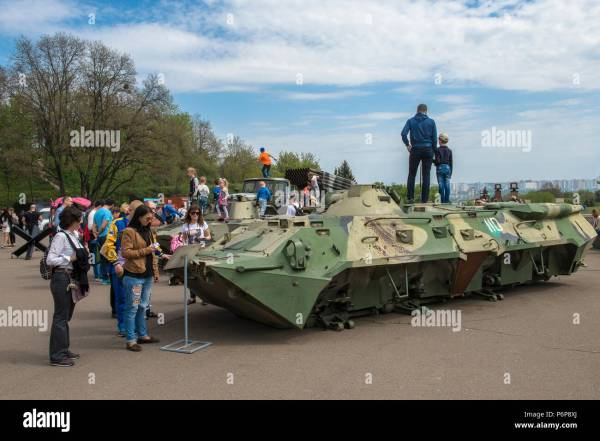 Military vehicles used in the Donbass war exhibited in ...