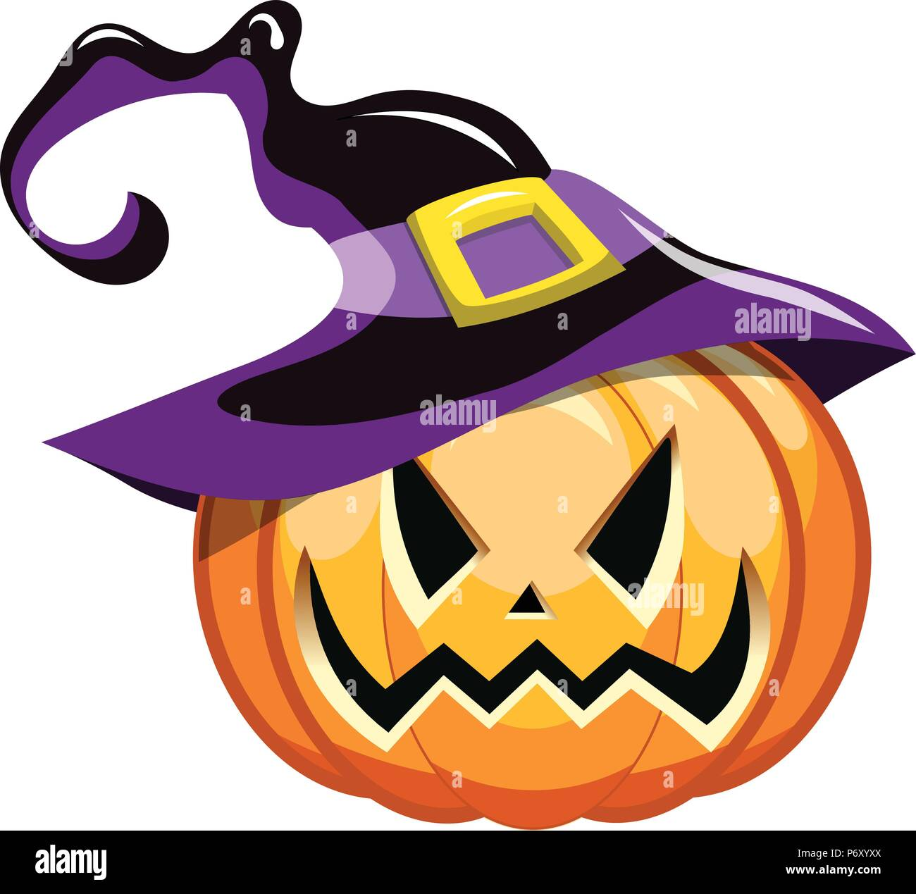 Say boo and scary on. Cartoon Spooky Halloween Pumpkin Wearing Witch Hat Isolated Stock Vector Image Art Alamy
