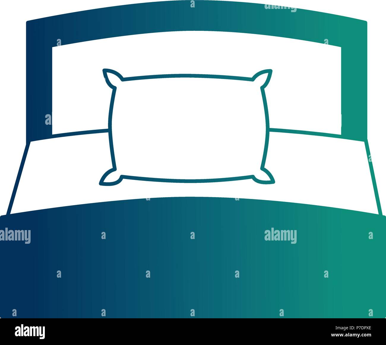 https www alamy com wooden bed pillow and blanket front view vector illustration neon design image211130374 html
