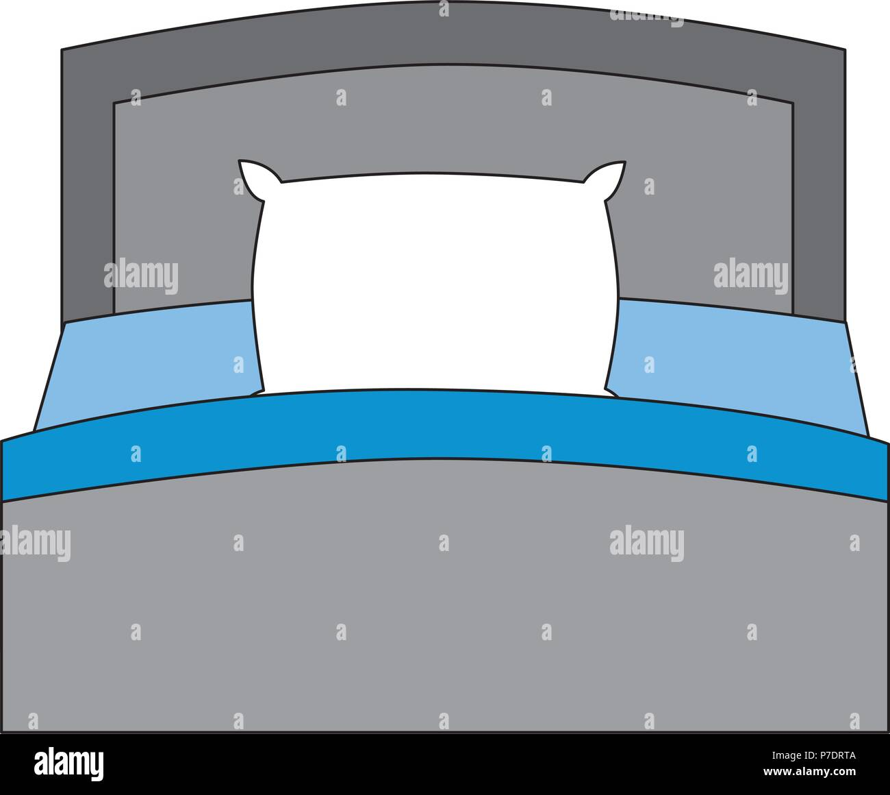 https www alamy com wooden bed pillow and blanket front view vector illustration image211131098 html