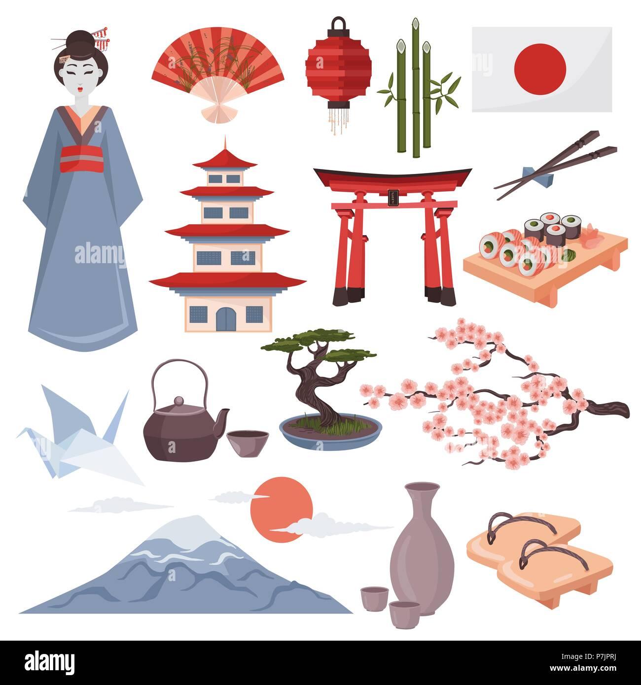 Japanese Symbols Vector Illustration Colorful Set Of