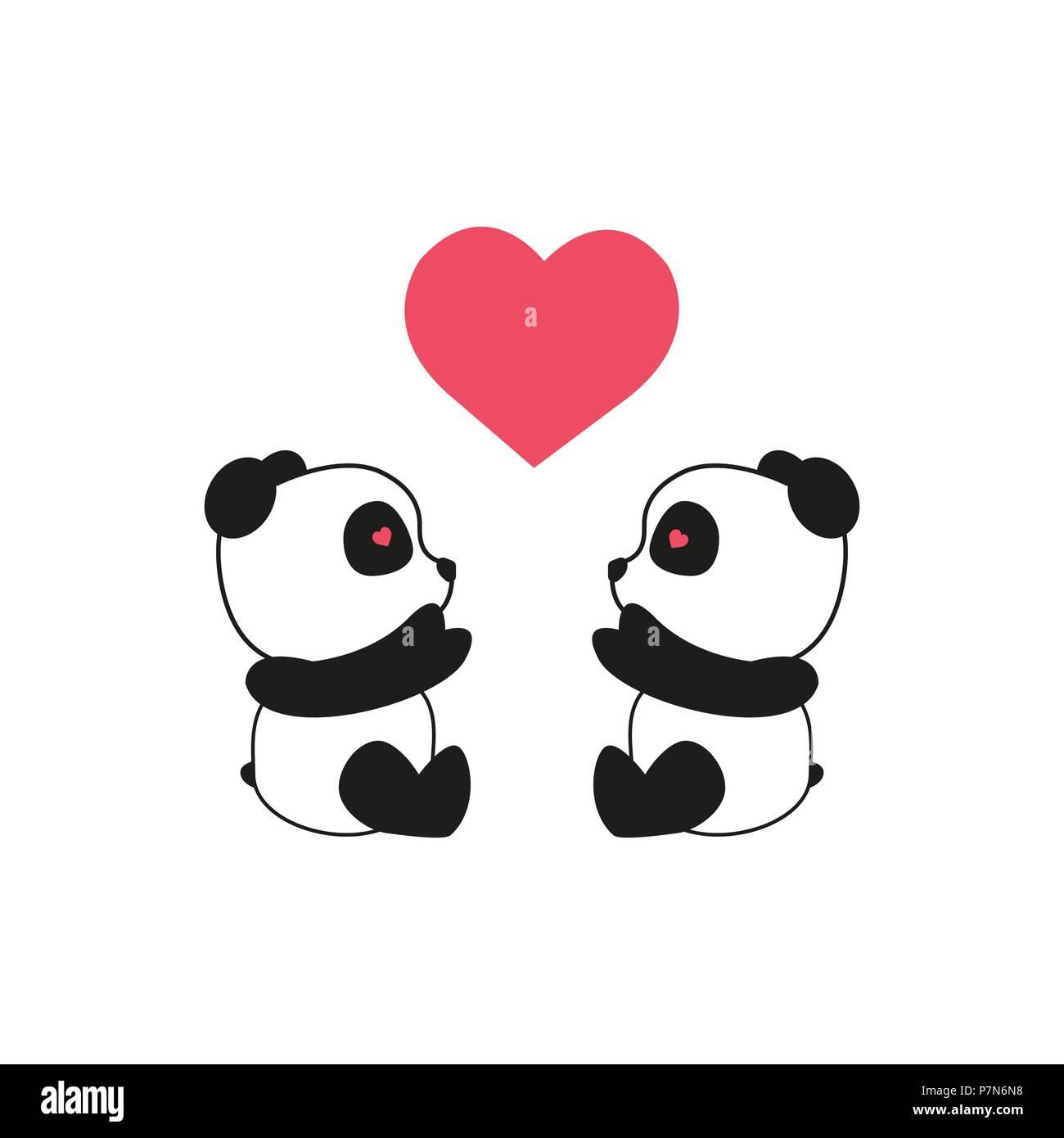 Panda Bear Illustration Two Pandas With Heart Valentine
