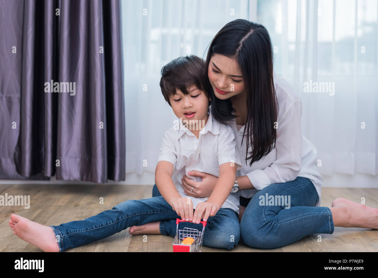 Young Asian Mom And Son Playing Toy In House Mother And Son Concept Happy Family And Home Sweet Home Theme Preschool And Back To School Theme