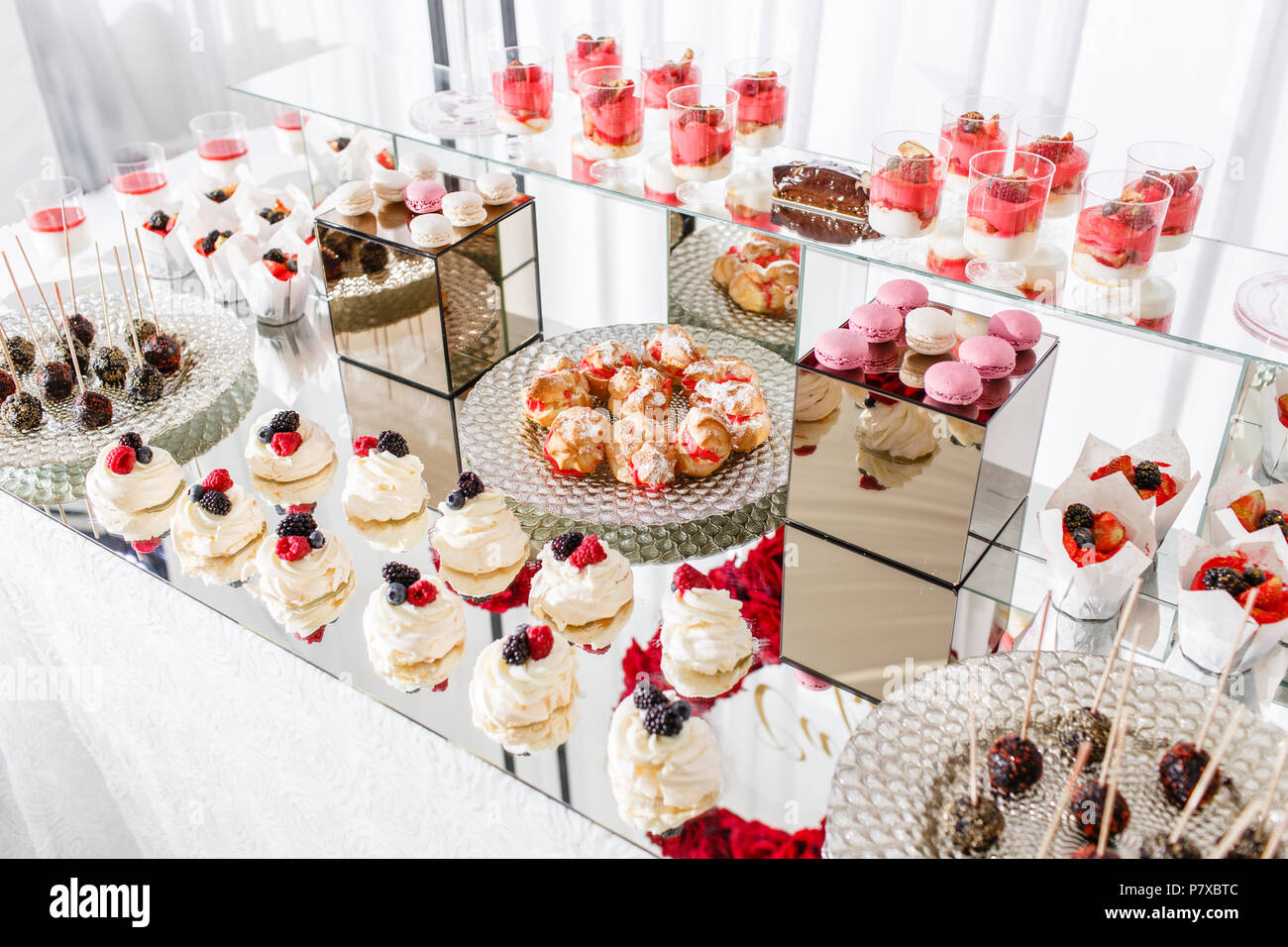 Candy Bar With A Lot Of Desserts Meringue Cupcake Fruit