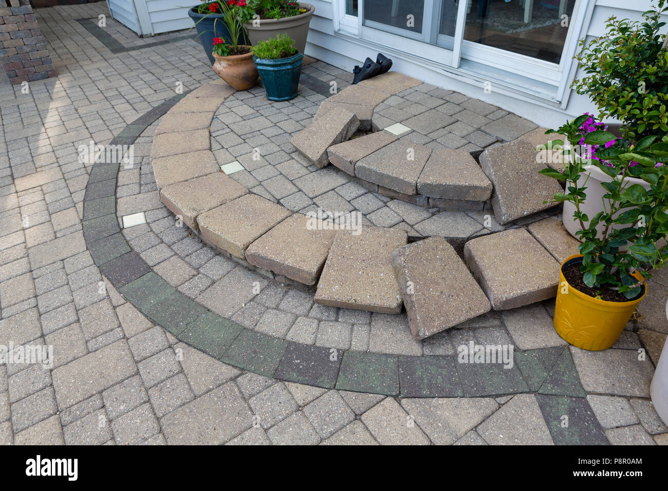 https www alamy com replacing paving edging bricks on curved patio steps in front of the door to the house with them all laid neatly in position to commence work image211946860 html