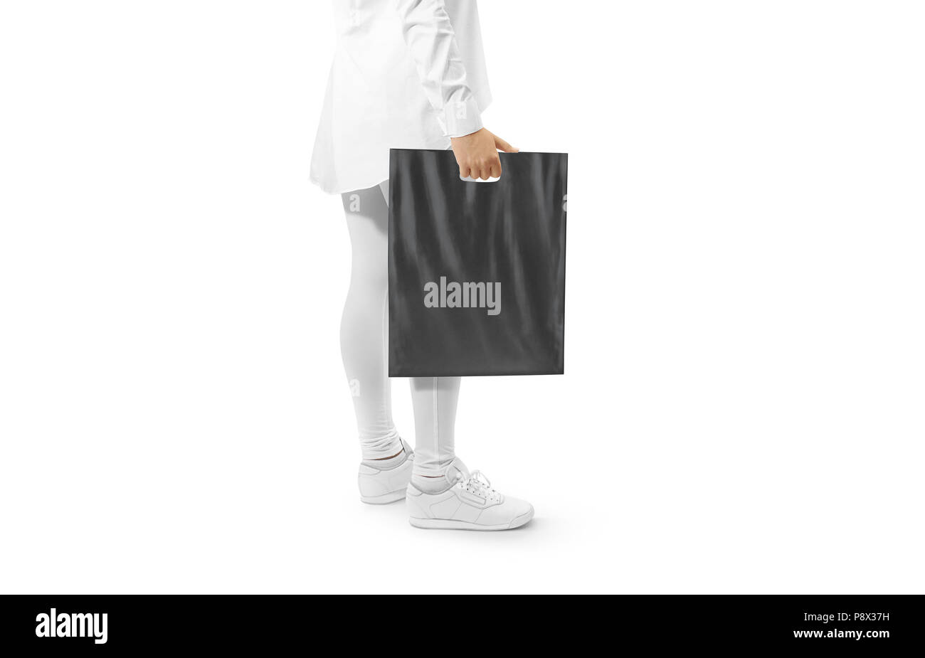 This paper bag mockup assures great stylish paper bags that you can modify easily with your own specified text paper bag template free download. Blank Black Plastic Bag Mockup Holding Hand Woman Hold Dark Carrier Sac Mock Up Grey Bagful Branding Template Shopping Carry Package In Persons Arm Stock Photo Alamy