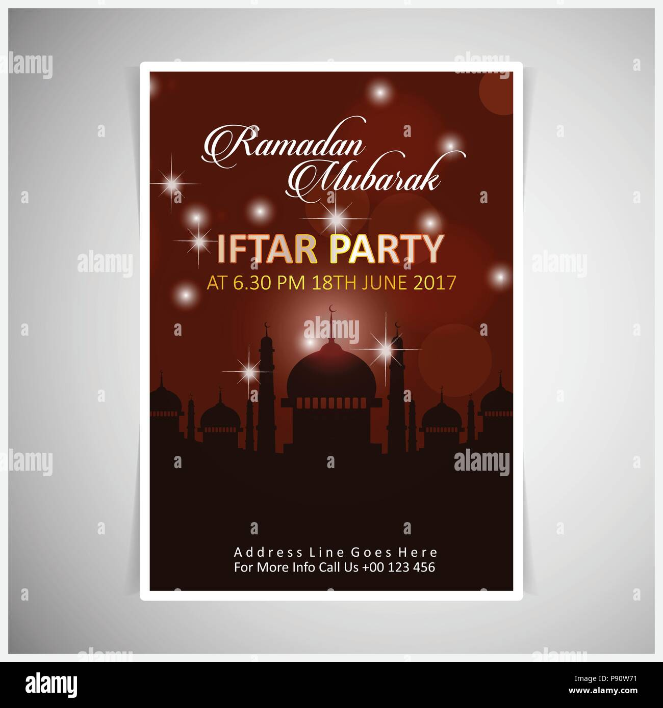https www alamy com elegant iftar party invitation card design decorated on dark red card on grey background for web design and application interface also useful for image212076117 html